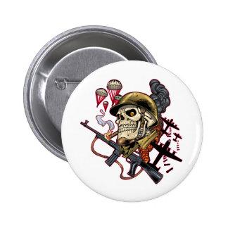 Airborne Marine Corps Parachute Skull by Al Rio Pinback Button