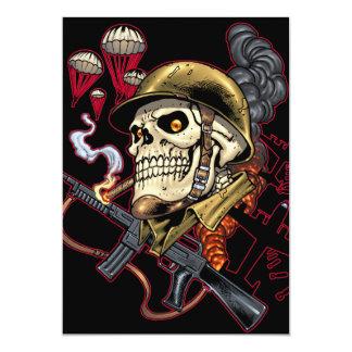 "Airborne Marine Corps Parachute Skull by Al Rio 5"" X 7"" Invitation Card"