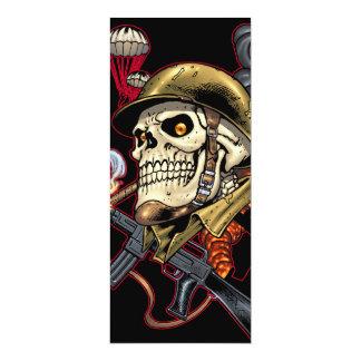 "Airborne Marine Corps Parachute Skull by Al Rio 4"" X 9.25"" Invitation Card"
