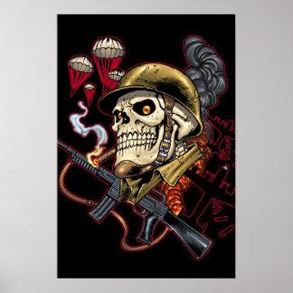 Airborne Marine Corps Parachute Skull by Al Rio Poster
