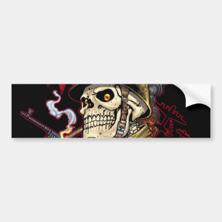Airborne or Marine Paratrooper Skull with Helmet Bumper Sticker