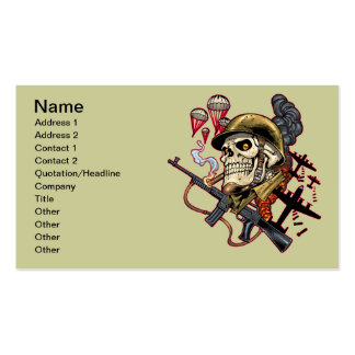 Airborne or Marine Paratrooper Skull with Helmet Pack Of Standard Business Cards
