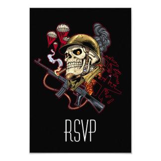 "Airborne or Marine Paratrooper Skull with Helmet 3.5"" X 5"" Invitation Card"