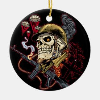 Airborne or Marine Paratrooper Skull with Helmet Round Ceramic Decoration
