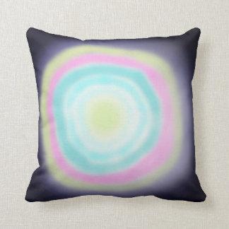 Airbrushed circles green pink blue cushion