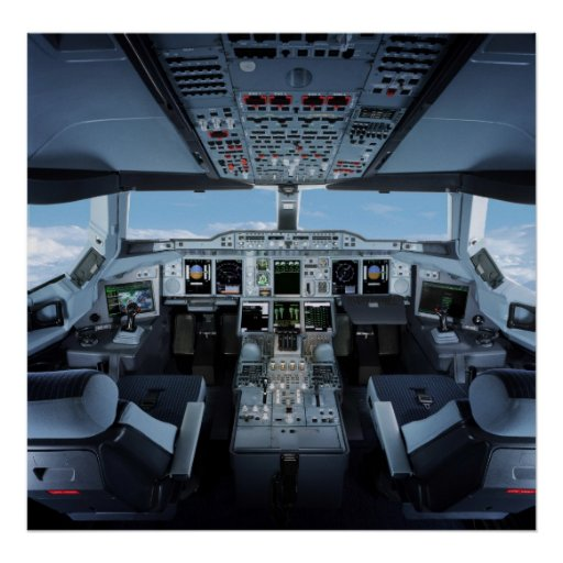 Airbus A380 - Cockpit HD Posters