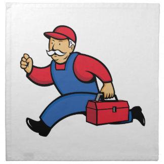 Aircon Technician Running Cartoon Napkin