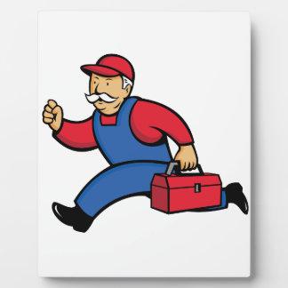 Aircon Technician Running Cartoon Plaque