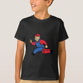Aircon Technician Running Cartoon T-Shirt
