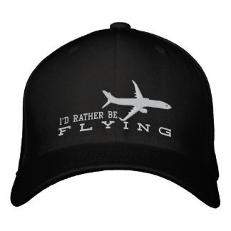 Aircraft Airliner Jet Silhouette Rather Be Flying Embroidered Hat