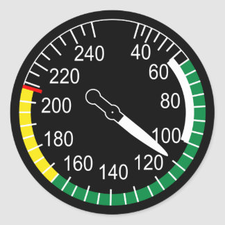 Aircraft Airspeed Indicator Classic Round Sticker