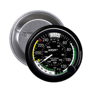 Aircraft Airspeed Indicator Gauge Pinback Buttons
