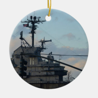 Aircraft Carrier In New York Ceramic Ornament