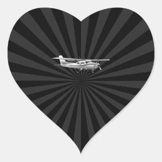 Aircraft Cessna Silhouette Flying Black Burst Heart Sticker
