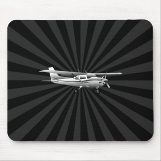 Aircraft Cessna Silhouette Flying Sunburst Decor Mouse Pad