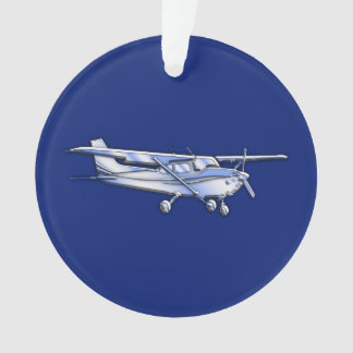 Aircraft  Chrome Cessna Silhouette Flying on Blue Ornament
