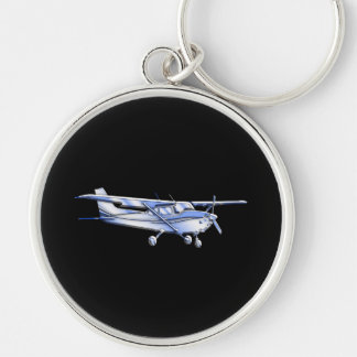Aircraft Classic Cessna Silhouette Flying on Black Silver-Colored Round Key Ring