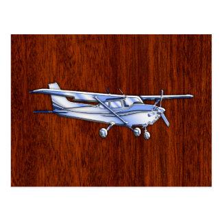 Aircraft Classic Chrome Cessna Flying Mahogany Postcard