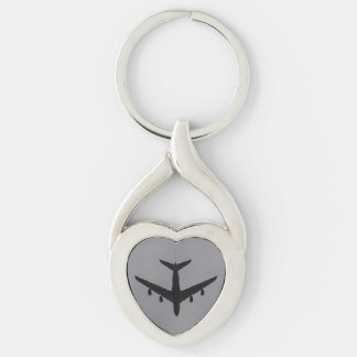 Aircraft Heart Keychain Silver-Colored Twisted Heart Key Ring