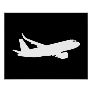 Aircraft Jet Liner White Silhouette Flying Decor Poster