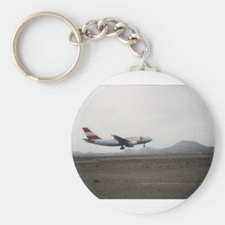 Aircraft Landing Basic Round Button Key Ring