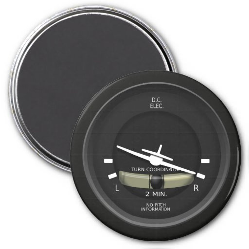 Aircraft Turn Coordinator Instrument Refrigerator Magnets