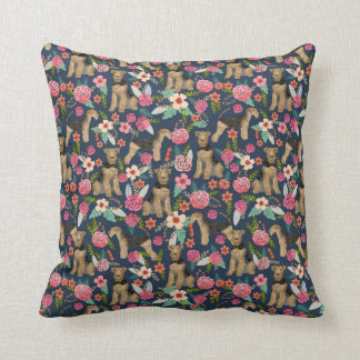 airedale, airedale terrier, floral dog pillow