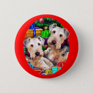 Airedale Christmas Open Now 6 Cm Round Badge