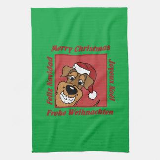 Airedale Christmas Tea Towel