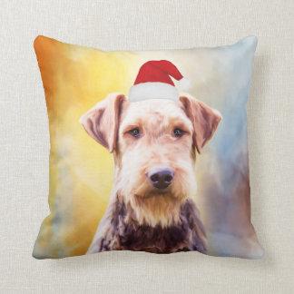 Airedale Dog Christmas Santa Hat Art Portrait Cushion