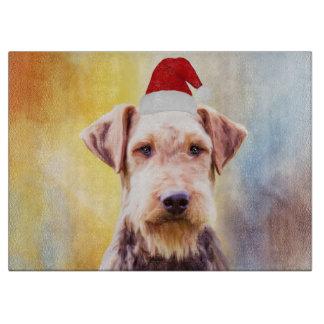 Airedale Dog Christmas Santa Hat Art Portrait Cutting Board