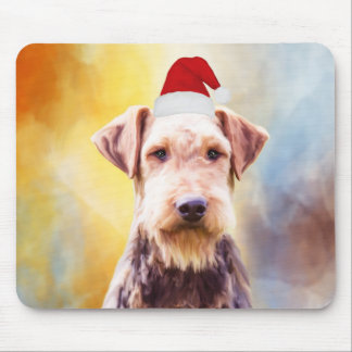 Airedale Dog Christmas Santa Hat Art Portrait Mouse Pad