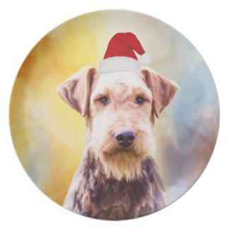 Airedale Dog Christmas Santa Hat Art Portrait Plate