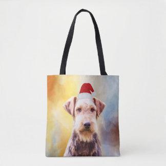 Airedale Dog Christmas Santa Hat Art Portrait Tote Bag