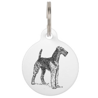 Airedale drawing pet ID tag
