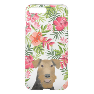 Airedale hawaiian summer floral clear phone case