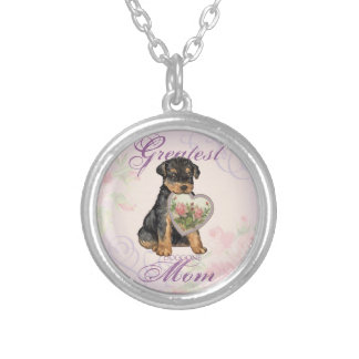Airedale Heart Mom Silver Plated Necklace
