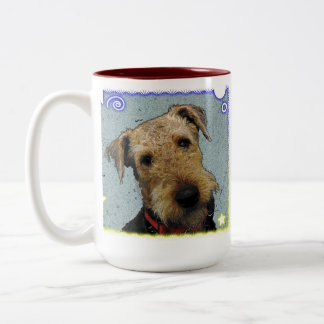Airedale lovable , excitable Two-Tone mug