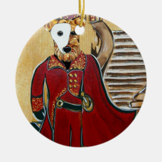 AIREDALE MASQUERADE ROUND CERAMIC DECORATION