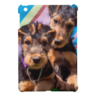 Airedale puppies in a green bucket iPad mini case
