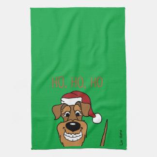 Airedale Santa Tea Towel