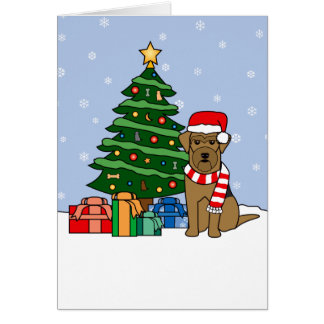 Airedale Terrier and Christmas Tree Card
