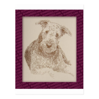 Airedale Terrier art drawn from only words Postcard