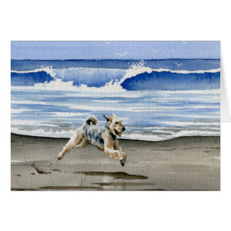 Airedale Terrier At The Beach Card