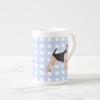 Airedale Terrier Blue Gingham Bone China Mug