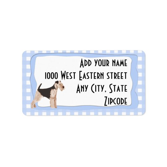 Airedale Terrier Blue Gingham Label