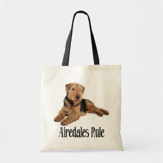 Airedale Terrier Brown and Black Puppy Dog Tote Bag