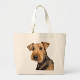 Airedale Terrier Brown & Black Puppy Dog Love Large Tote Bag