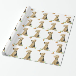 Airedale Terrier & Butterfly Wrapping Paper