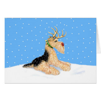 Airedale Terrier Christmas Dale Deer Card